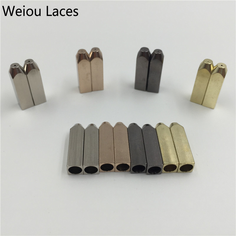 Weiou (20 Pcs/5 Sets) Luxury Shoelaces Gold Screw On Metal Aglets 5*5*19mm For Sneakers Shoe Laces DIY Replacement Custom Aglets