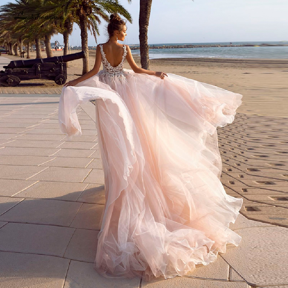 Lakshmigown Classic Pink Wedding Dress A Line 2019 Boho Elegant Tulle Long Bridal Dresses Lace Crystal Wedding Beach Party Gown