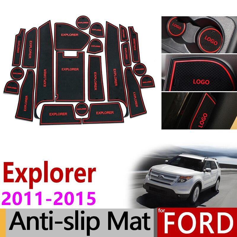 Anti-Slip Gate Slot Mat Rubber Coaster For Ford Explorer 2011 2012 2013 2014 2015 MK5 U502 Pre-Facelift Accessories Car Stickers