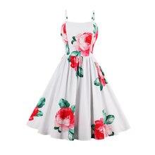 Бренд Для женщин Цветочный принт Платье Cami Спагетти ремень пляжные летние платья пикантные Дамские элегантные линии цветок Винтаж платье
