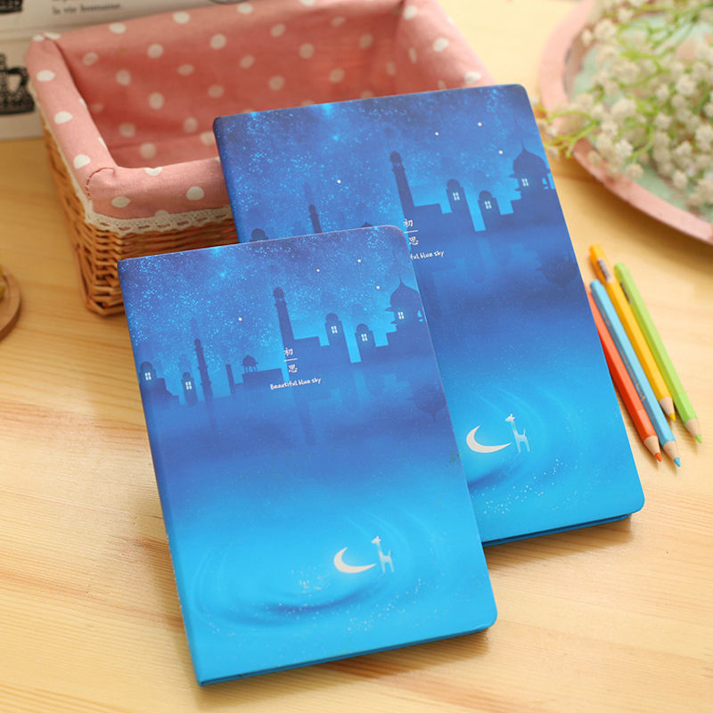 เกาหลีน่ารักโน๊ตบุ๊คสีฟ้ากวาง Notepad ไดอารี่ 96 แผ่นกระดาษแข็งโน๊ตบุ๊คอุปกรณ์การเรียนเครื่องเขียนของขวัญ
