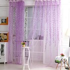 Willow Pattern Voile Window Curtain Sheer Panel Drapes Scarfs Curtain