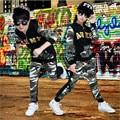 2016 Niños del Otoño Que Arropan Camuflaje Niños Niñas Que Arropan el sistema Jazz Hip Hop Danza Abrigo de Manga Larga y Pantalones de Los Cabritos trajes