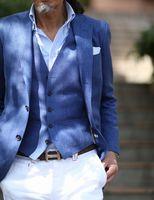 Latest coat pant Designs Royal Blue Men Suit Slim Tuxedos Groomsmen Navy Blue Blazer Casual Business Jacket white Pants Vest