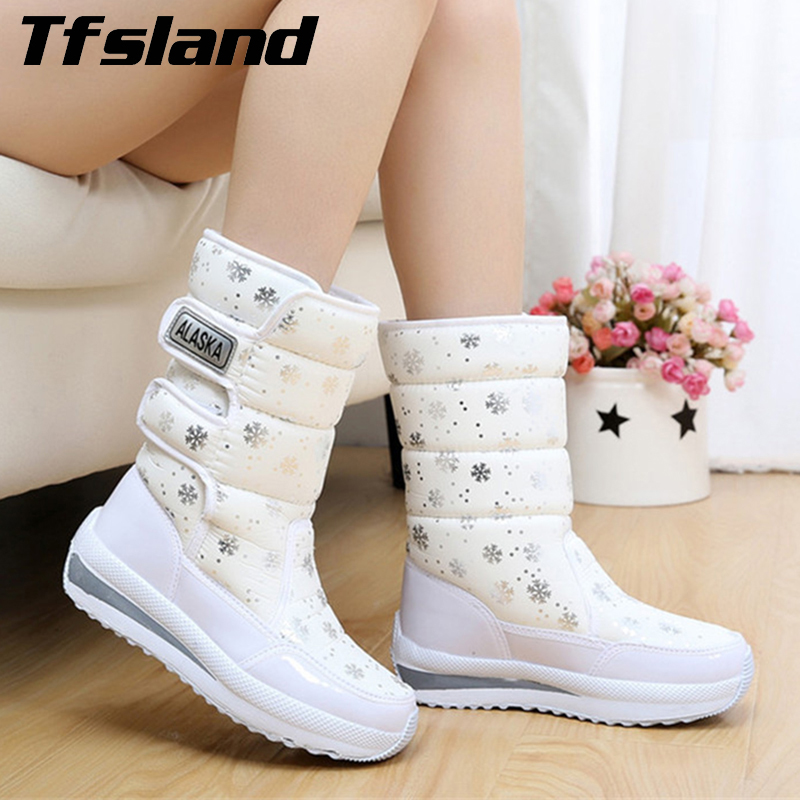 Womens Waterproof Snow Boots Snowflake Cotton Super Warm Sneakers Women Winter Platform  ...