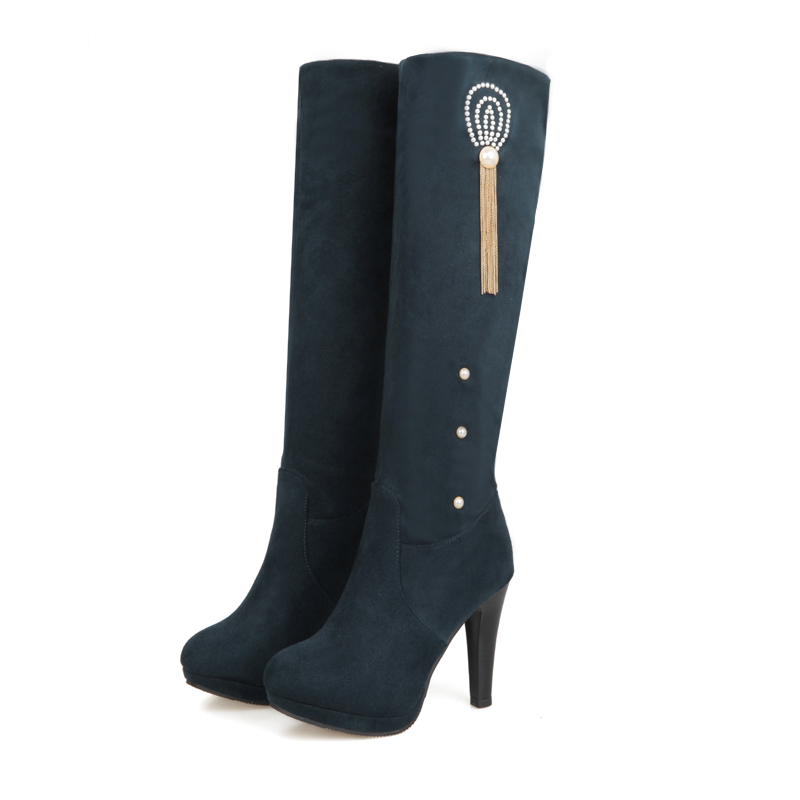 ФОТО ARMOIRE New Sexy Women Knee High Boots Black Red Green Blue Fashion Chain Lady Riding Shoes High Heel AY02-3 Plus Big Size 10 43