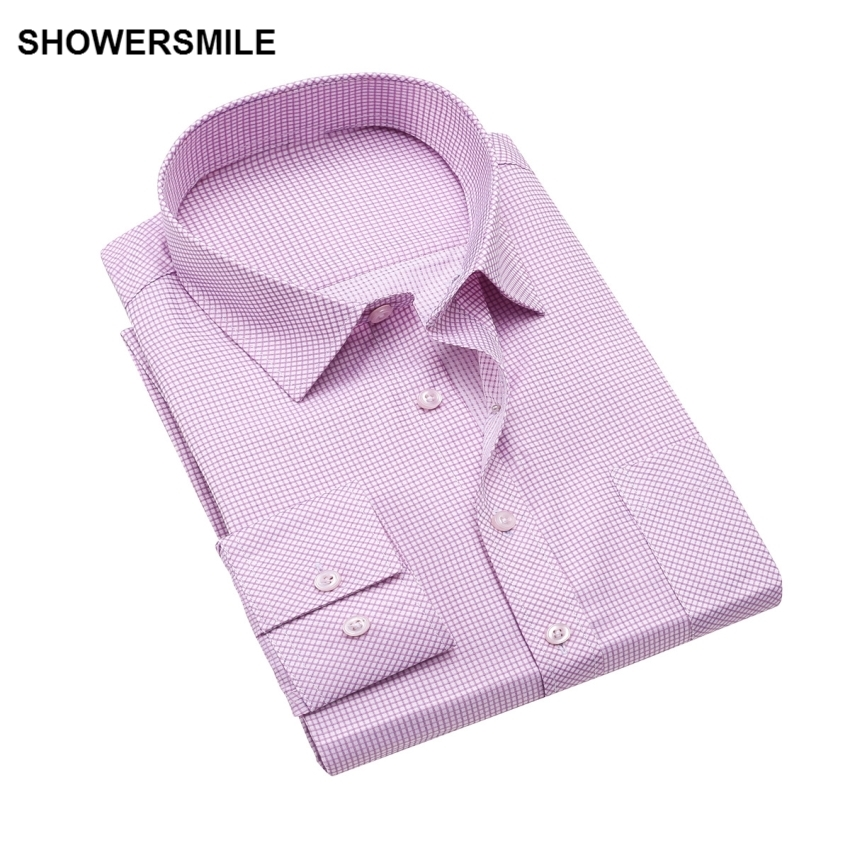 SHOWERSMILE Pink Shirt Men Plus Size Plaid Business Shirt For Men Cotton Blue Purple Slim Fit Long Sleeve Imported Clothing 4XL