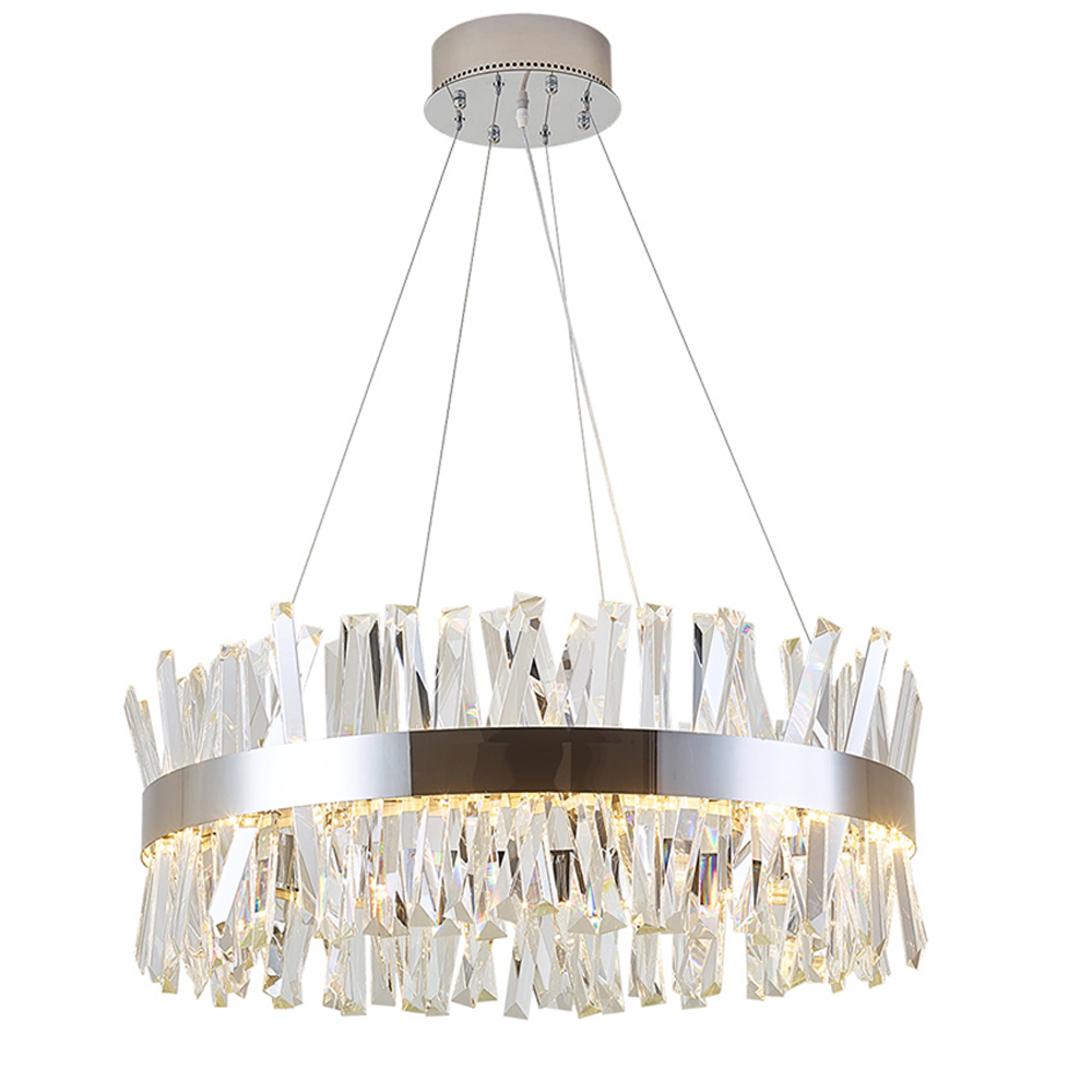 Conception ronde moderne lustre en cristal éclairage de luxe salle à manger salon chambre lumières chrome LED lampe