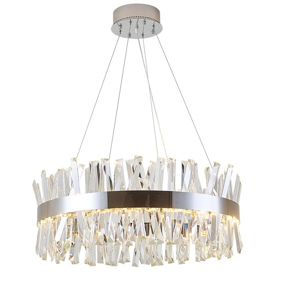 round design modern crystal chandelier lighting luxury dinning room living room lights chrome LED lamp chrome round crystal chandelier