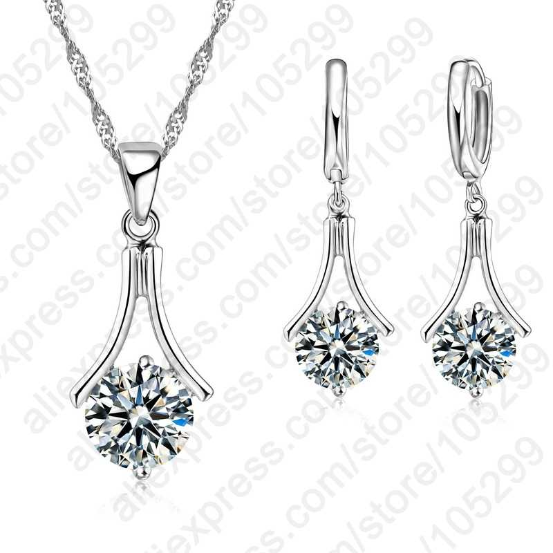 Fashion Cubic Zircon Jewelry Sets For Women Exquisite Luxury 925 Sterling Silver Necklace Earrings Set Wholesale Price