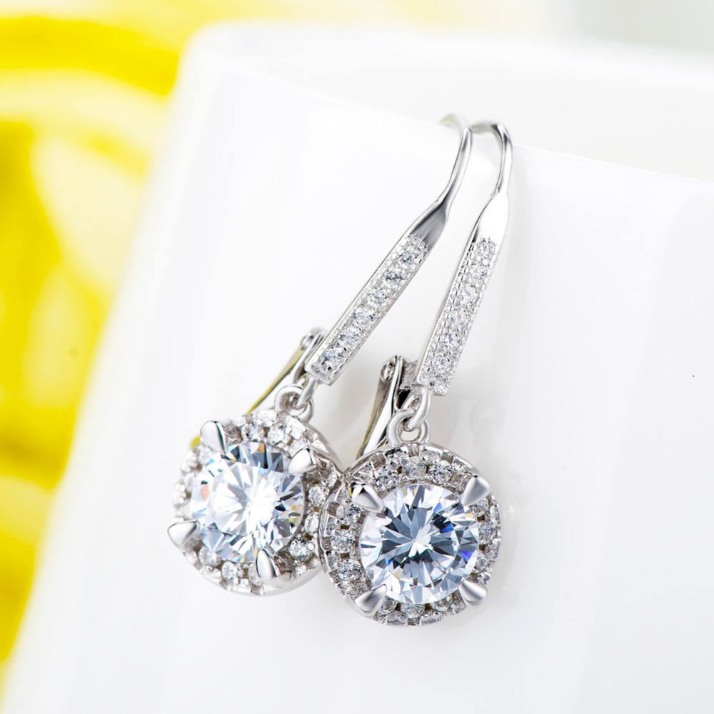 YFN Echt 925 Sterling Silber Kristall Ohrringe Modeschmuck Weiß - Modeschmuck - Foto 2