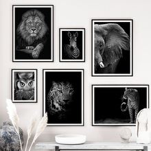 цена на Black White Lion Zebra Leopard Elephant Wall Art Canvas Painting Nordic Posters And Prints Wall Pictures For Living Room Decor