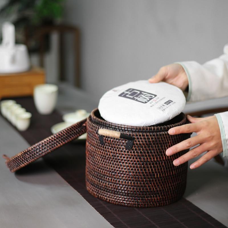 High Quality Hand Made Natural Rattan Pu-Erh Tea Box 1