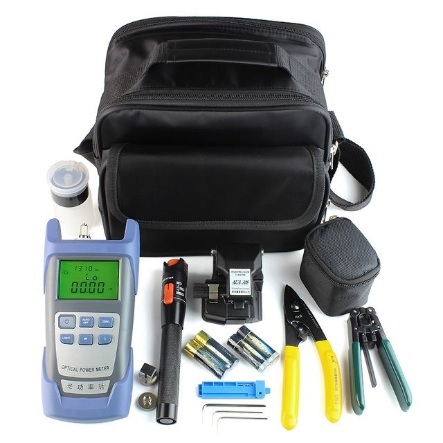 Fiber Optic FTTH Tool Kit with Fiber Cleaver HS-30 and Power Meter Red Light Pen Fiber Optic Tester Visual Fault Locator 10mw
