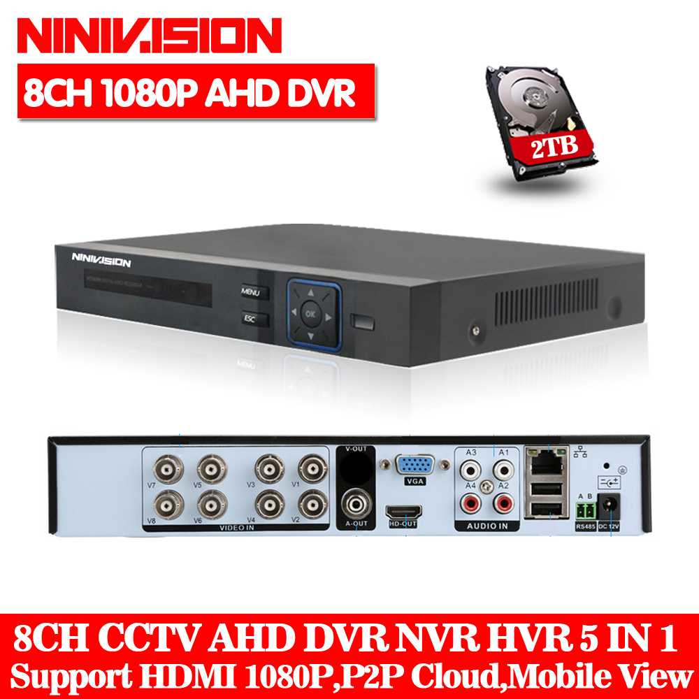 NINIVISION 1080P 2mp CCTV Camera 1080N 8 Channel 8CH Surveillance Video Recorder Hybrid 5 in 1