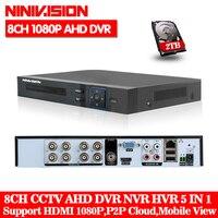 NINIVISION 1080 P 2mp CCTV Камера 1080N 8 канальный 8CH видеонаблюдения Регистраторы гибридный 5 в 1 WI FI Onvif NVR TVI CVI AHD DVR
