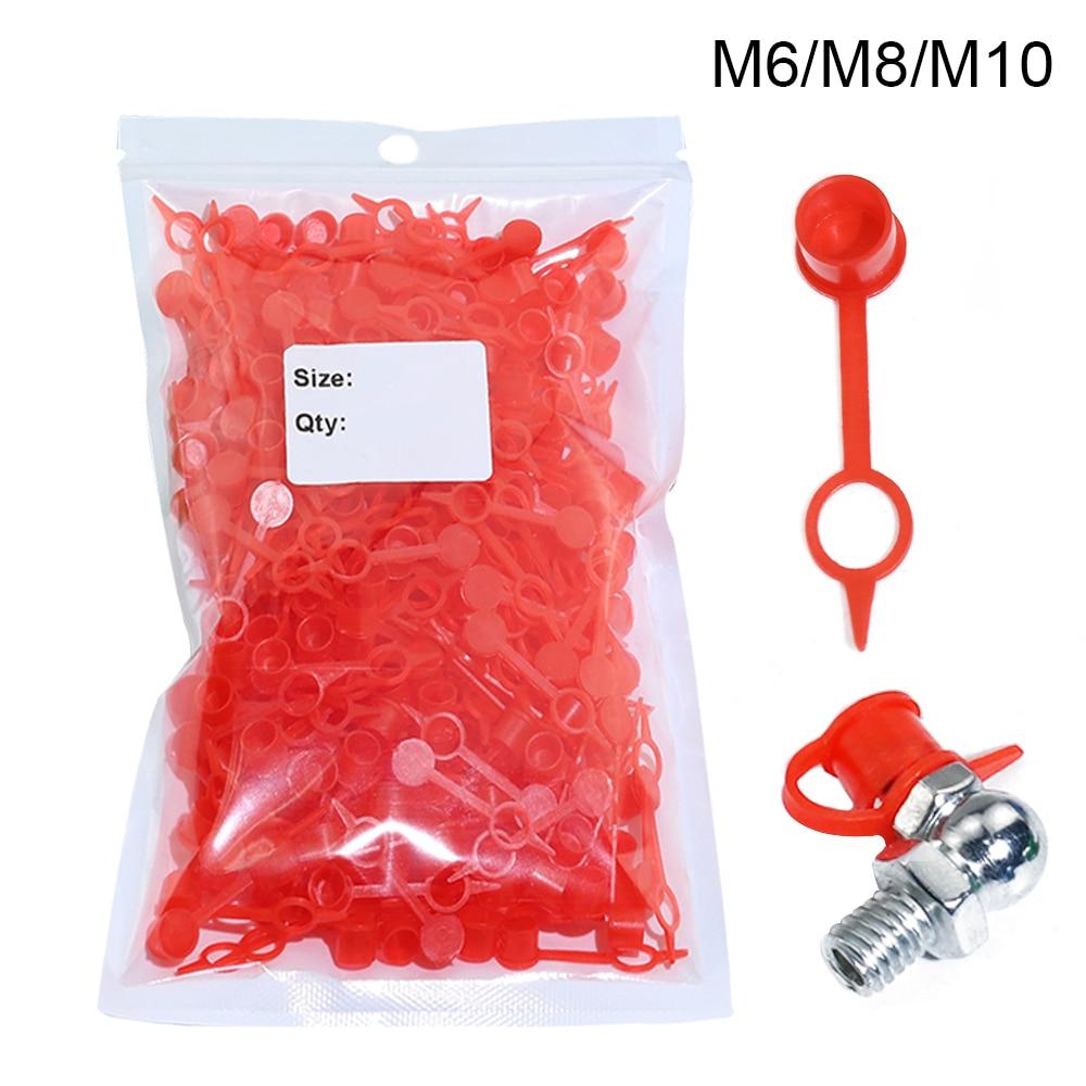 100pcs 200pcs 300pcs M6 M8 M10 RED Polyethylene Plastic Dust Cap Dust Cover Protection Cover Cap For Grease Gun Zerk Fitting