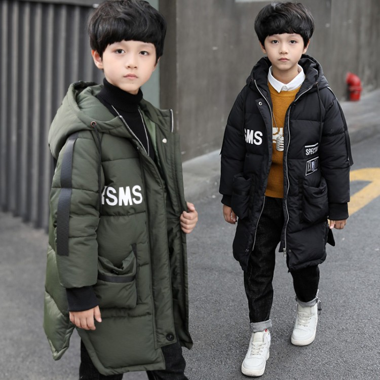 2018 Kids Clothing Winter Boys Hooded Long Parkas School Children Winter Outerwear Teenager Boys Thicken Warm Cotton Padded Coat children clothing panda cartoon outwear boys girls winter wear thickening outerwear coat cotton padded childr children outerwear