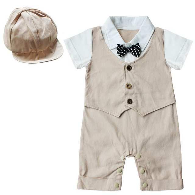 d35ddc5cef42 placeholder Baby Boys Rompers 2 Pieces Clothing Set Khaki Blue Hat + Vest  Waistcoat Romper Gentleman Infant