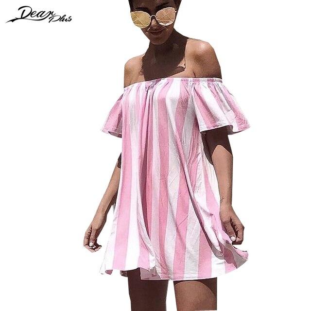 a1715806 Women Summer Vacation Loose Dress 2017 Slash Neck Strapless Stripe Casual  Beach Dress Ladies Cute Mini Shift Dress vestidos