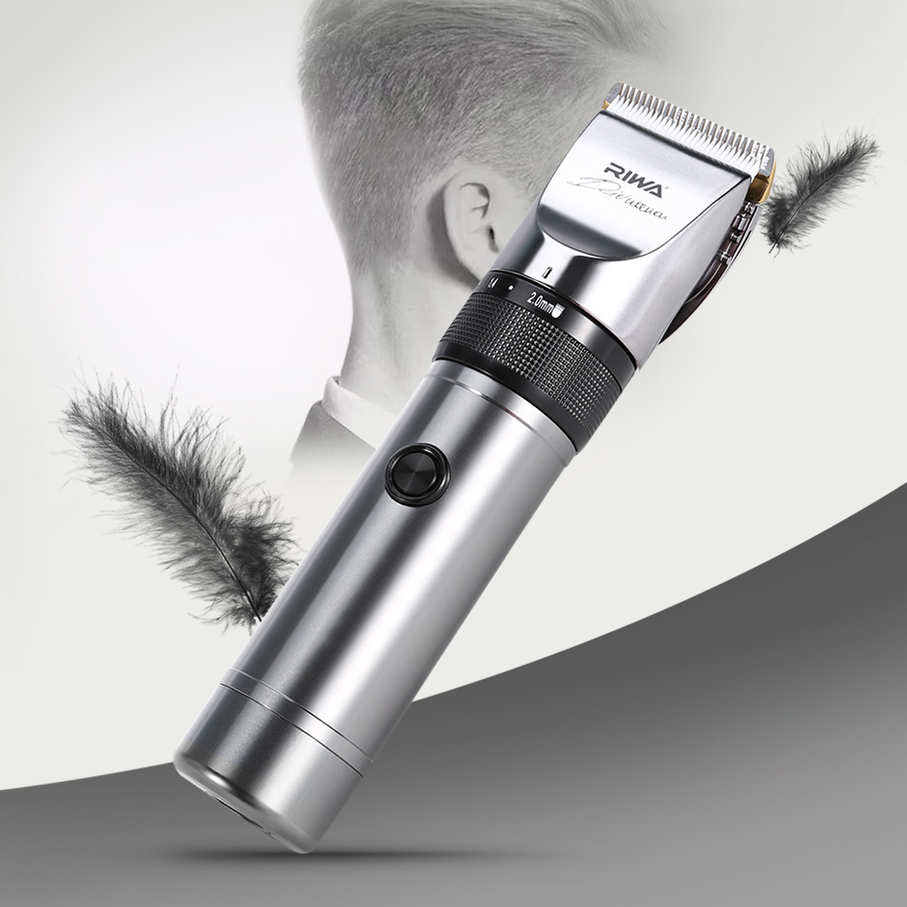 Riwa Rechargeable Hair Clipper Professional 4 Guide Combs Aluminum