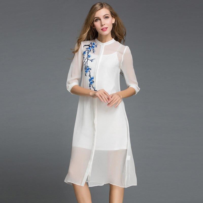 Buy 2016summer vestido women dress real for Long sleeve silk shirt dress