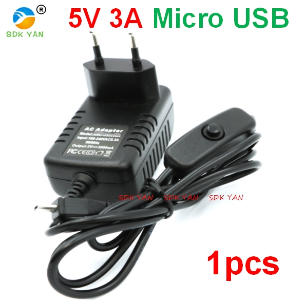 EU plug 5V 3A Raspberry Pi 3 Power Supply Switch Button Power Adapter Micro USB Port for Raspberry Pi 3 Model B 5v 3a charger wsx mx x6a b05 6 port charger 6 3 7v 750ma 25c li battery for jxd 509g 509v jjrc h12c dfd f181 mjx x400 h12w h12w a 3a us plug with eu adapter
