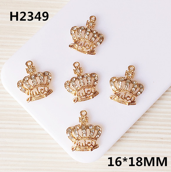 Bling Crystal Rhinetone Paved Gold Tone Alloy Charms Royal Princess King Crown Pendant Charm Craft Fit Bracelet Necklace Keyring