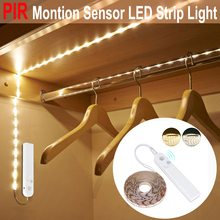 LED Cabinet Light Motion Sensor 1M-3M Under Bed Stair Wardrobe Tape 5V USB LED Strip Closet Kitchen Night Lamp D35