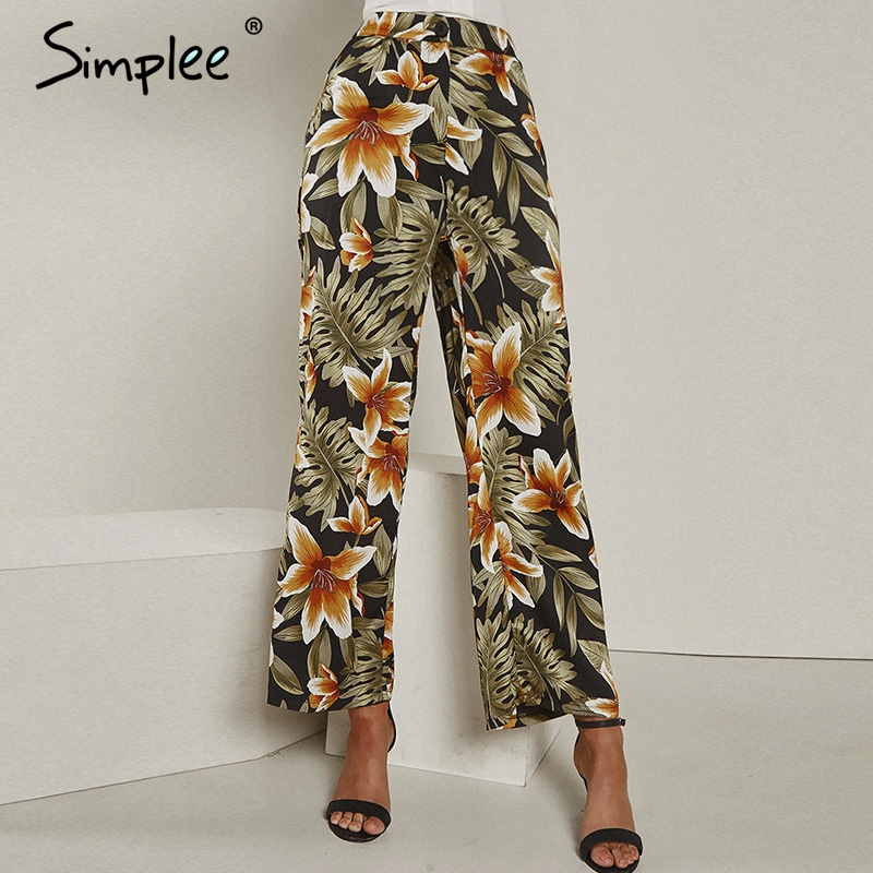 Simplee Casual floral print women long trousers plus size High waist wide leg casual summer   pants   Vintage green female   capris