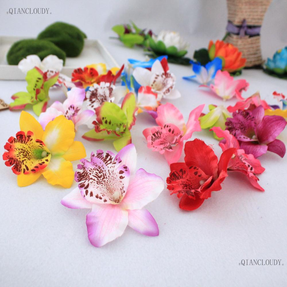 5 Pieces Artificial Thai Orchids Silk Flower Heads For Hair Clip