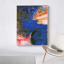 Abstract Poster Painting on Canvas Blue Gloden Ocean Original Oil Wall Picture for Living Room Home Decoration unframed