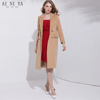 Camel Double faced Wool Long Woolen Coat Cashmere Luxury Coat Female 2018 New Autumn Winter Business Office Double Breasted Coat