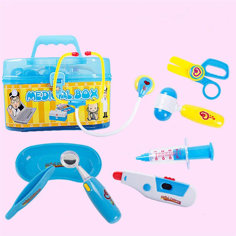 Family Doctor Medical Box Kit Playset for Kids Pretend Play Tools Toy Set (Blue)