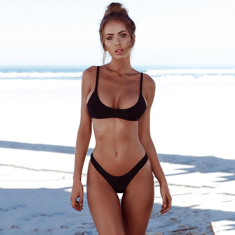 Sexy Brazilian Bikini Set Backless Women Swimsuit Push Up Swimwear Thong bottom Halter bikinis Beach Bathing Suit Swim Wear XXL