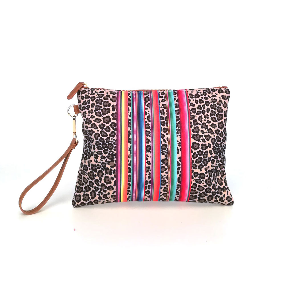 Fashion Make Up Cosmetic Bag Women Leopard Stripe Purse Luxury Ladies Travel Toiletry Bags With Zipper Closure Wrislet Bag Grils
