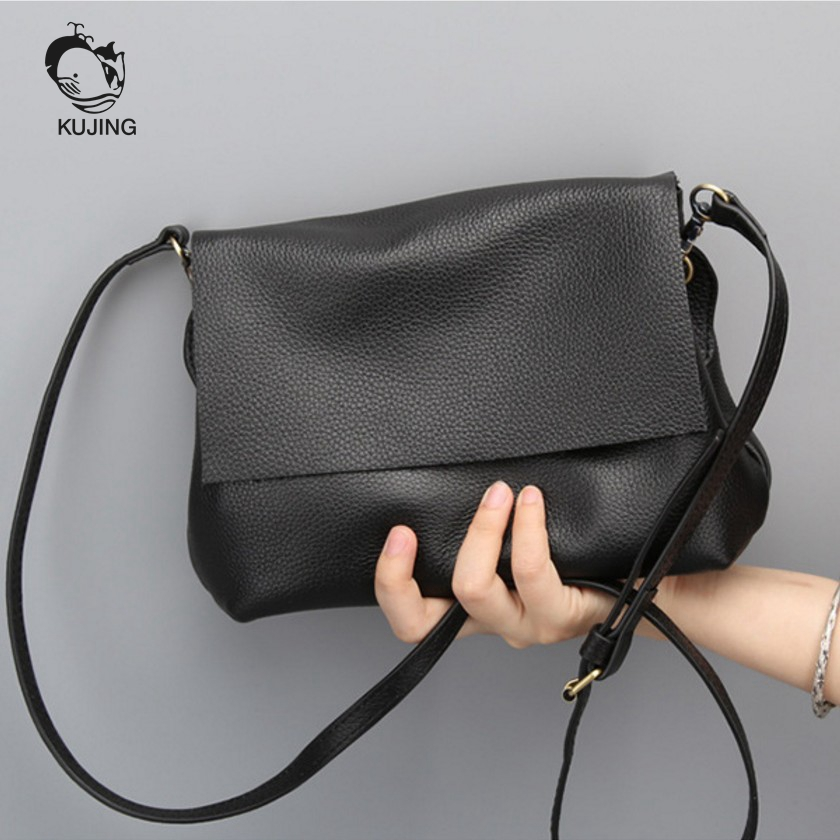 KUJING Leather Handbags High grade Simple Ladies Shoulder Messenger Bag Cheap Fashion Casual Leather Women s