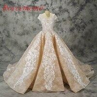 Projeto do laço Vestido de Noiva de luxo vestido de noiva grande trem real vestido de casamento fábrica de preços por atacado vestido de noiva