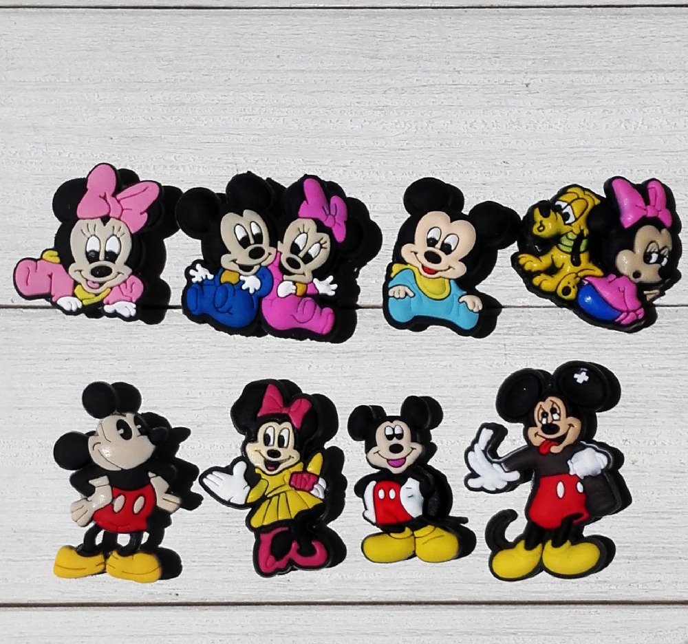 50pcs/lot Mickey PVC Shoe Charms Shoe Accessories Shoe Decoration for Shoes/ Wristbands kids Xmas Gift free shipping 8pcs lot mickey shoe decoration shoe charms shoe accessories for wristbands kids school gifts