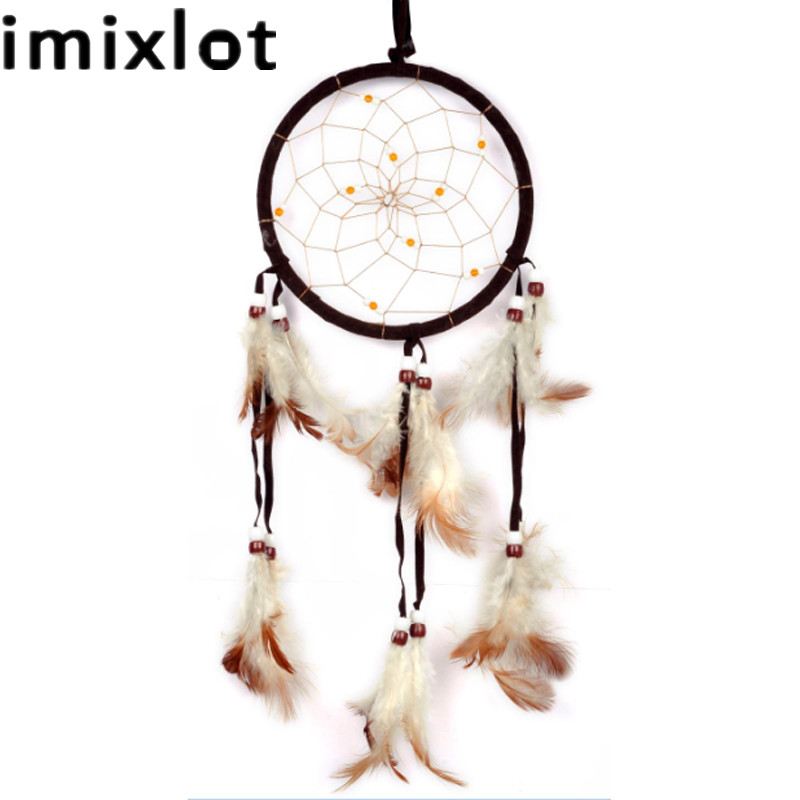 Imixlot Indian Style Dark Coffee Feather Dream Catcher Windgong Hanging Pendant Good Luck Dreamcatcher voor wanddecoratie