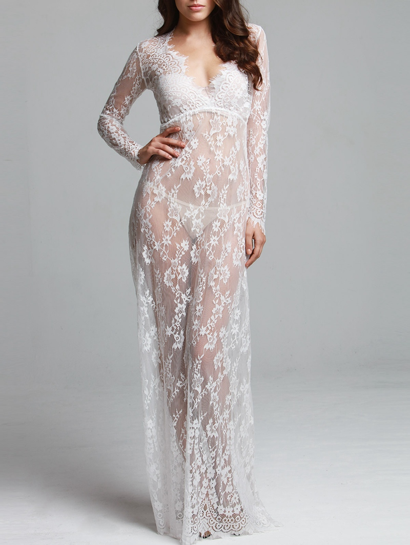 Robe de nuit en dentelle pour femmes Sexy transparente