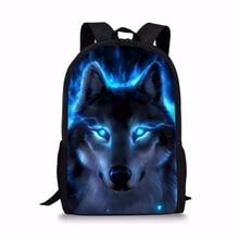 ThiKin Fashionable School Bags Cool Student Kids Bookbags Wolf Print Schoolbags mochila infantil Animal For Teenager Girls
