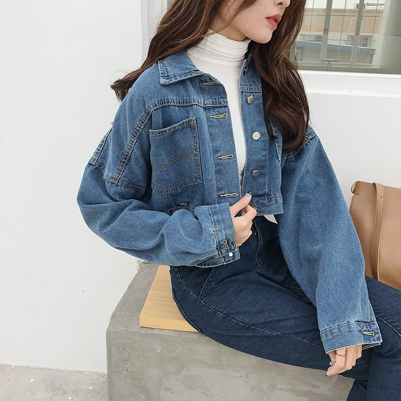 2018 Autumn Women Jeans Short   Jacket   Loose Outerwear   Basic     Jackets   Casual Boyfriend Denim Plus Size   Jacket