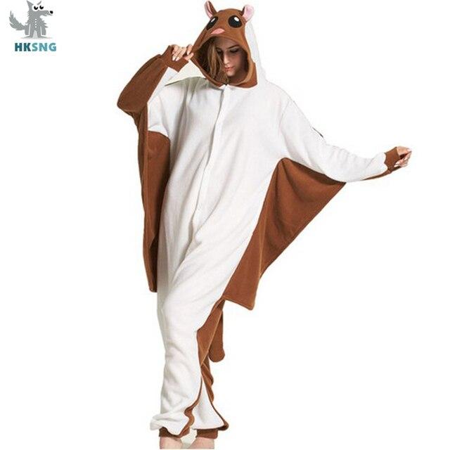 0dc061190df5 HKSNG Adult Winter Flying Squirrel Kigurumi Pajamas Sugar Glider Animal  Footed Onesies Missiles Cosplay Homewear For Party
