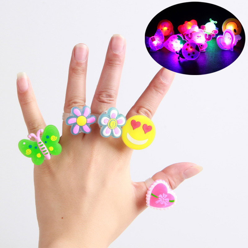 5pcs Cartoon Luminous Rings Glow In The Dark Toys For Children Funny Cartoon Cute Toys Kids For Girl Gift Sent By Random Patter