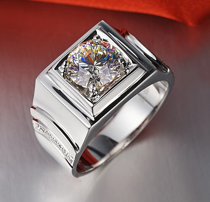Stunning Genuine Male Jewelry 1CT Synthetic Diamon.