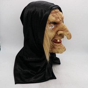 Image 3 - 怖い大人歳魔女マスクラテックス不気味なハロウィン仮装しかめっ面パーティー衣装アクセサリーコスプレ小道具大人ワンサイズ