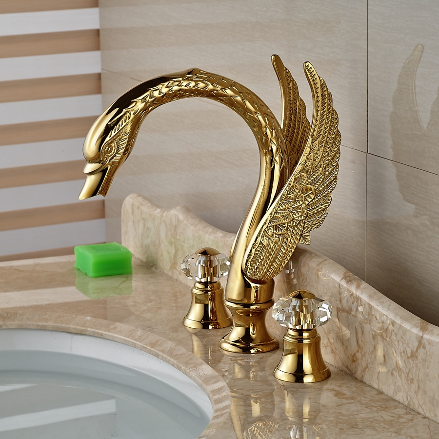 Wholesale And Retail Brand NEW Golden Brass Luxury Bathroom Faucet ...