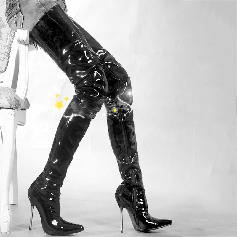 الفخذ طويلة أحذية حريمي برقبة 12 سنتيمتر عالية الكعب الأحذية على الركبة المعادن خنجر الأزياء فينتي الجمال الدانتيل يصل السيدات حذاء كبير حجم 46-في أحذية فوق الركبة من أحذية على  مجموعة 3