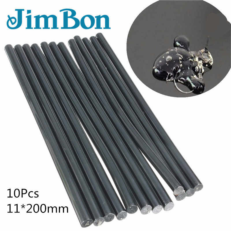 JimBon 10/20/50Pcs 11mm*200mm Black Hot Melt Glue Sticks For Glue Gun Auto Repair Tools Car Dent Paintless Removal Hand Tool